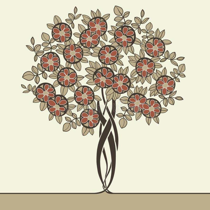 在艺术nouveau样式画的美丽的树 皇族释放例证