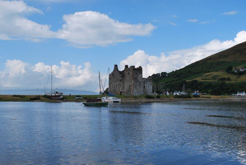 在艾伦海岛上的Lochranza城堡  库存照片