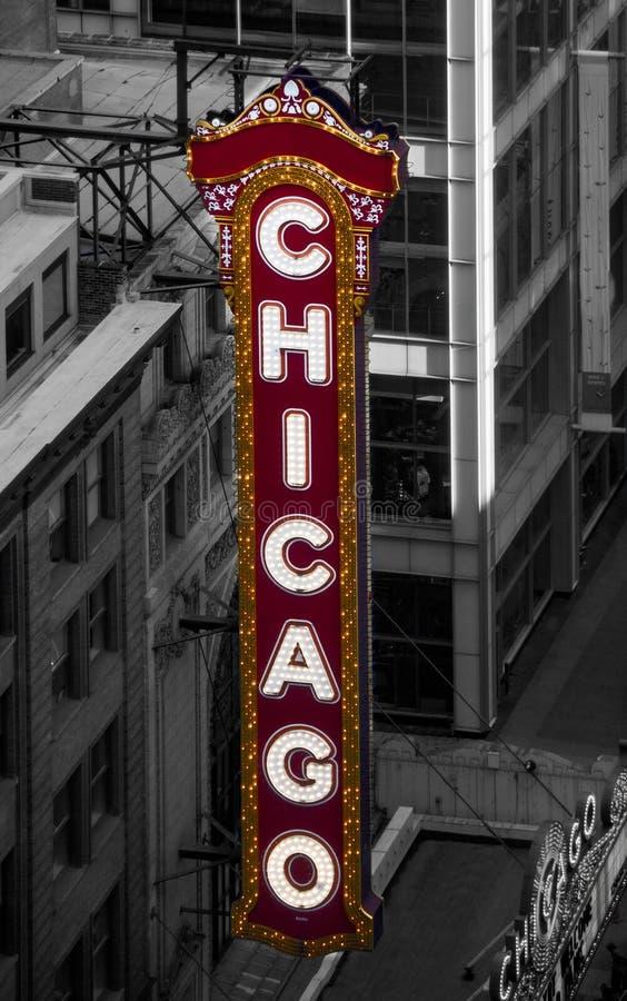 在芝加哥剧院前面的芝加哥signet 免版税图库摄影
