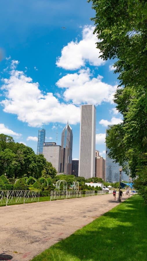 在芝加哥地平线-芝加哥,美国的偶象大厦的看法- 2019年6月12日 库存图片