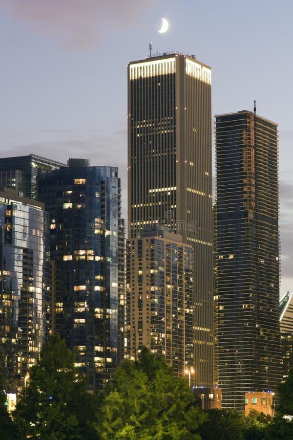 在芝加哥月亮之上 免版税图库摄影