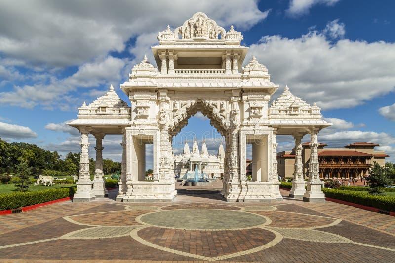 在芝加哥,伊利诺伊附近的印度寺庙入口 免版税库存图片