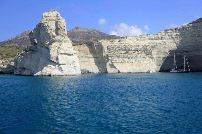 在芦粟海岛上的Kleftiko海湾 免版税库存图片