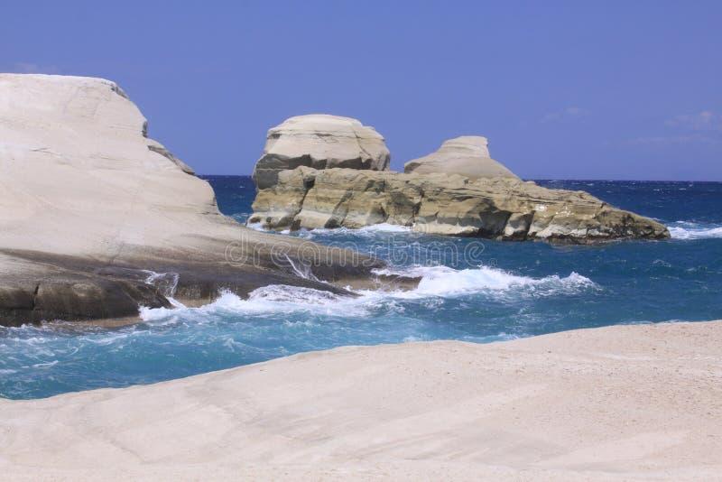 在芦粟海岛02上的Sarakiniko海滩 图库摄影