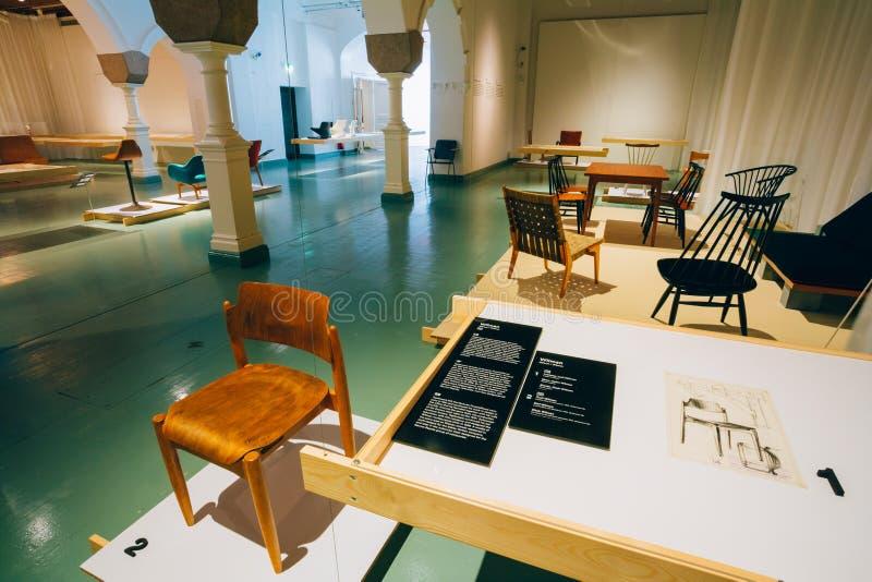 在芬兰设计博物馆(Designmuseo)的陈列在Helsink 免版税库存图片