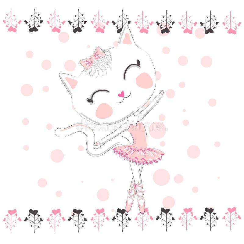 在芭蕾芭蕾舞短裙,一条桃红色裙子的全部赌注女孩的逗人喜爱的白色动画片猫 向量例证