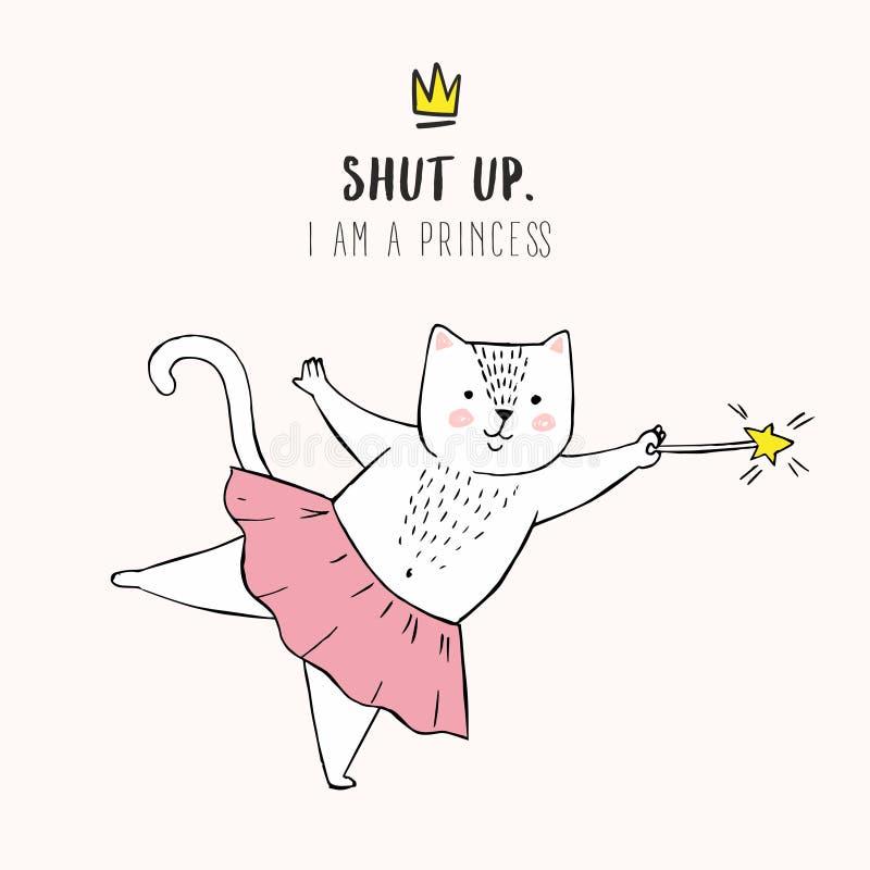 在芭蕾芭蕾舞短裙,一条桃红色裙子的全部赌注女孩,被关闭的在上写字的逗人喜爱的白色动画片猫 我是公主,乱画冠,甜卡片 向量例证