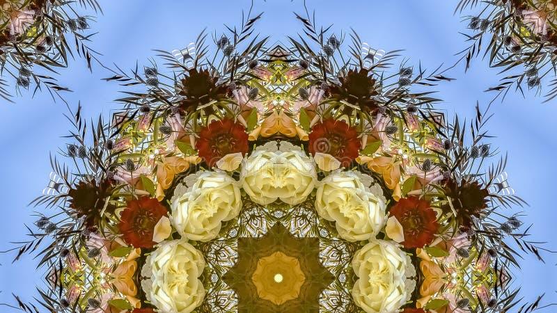 在花一个图形显示器的全景框架生动的花在圆安排的在婚礼在加利福尼亚 免版税库存图片