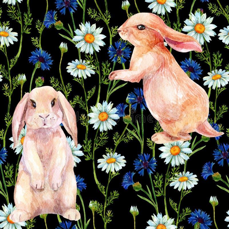 在花中的兔子 水彩无缝的样式 皇族释放例证