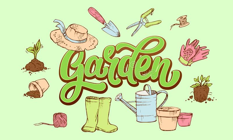 在花匠的属性围拢的新鲜的绿叶的庭院词上写字 库存例证