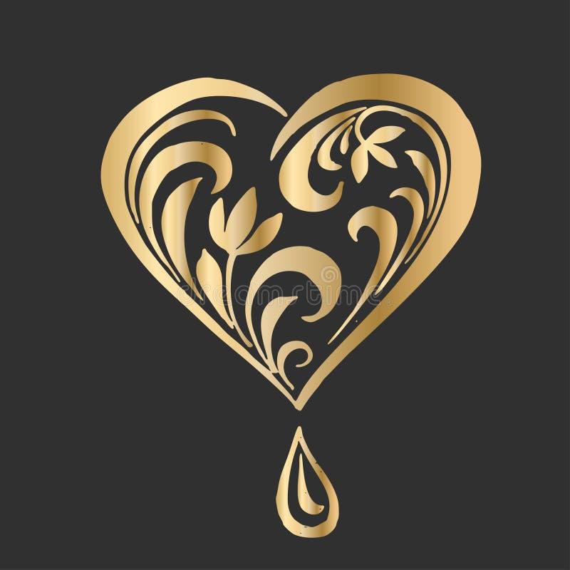 在花卉华丽样式的华丽传染媒介心脏 商标设计的典雅的元素,首饰 鞋带花卉例证为 库存例证
