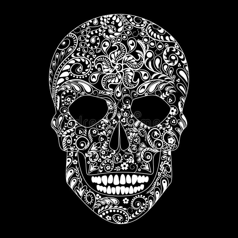 在花卉形状的人的头骨 库存例证