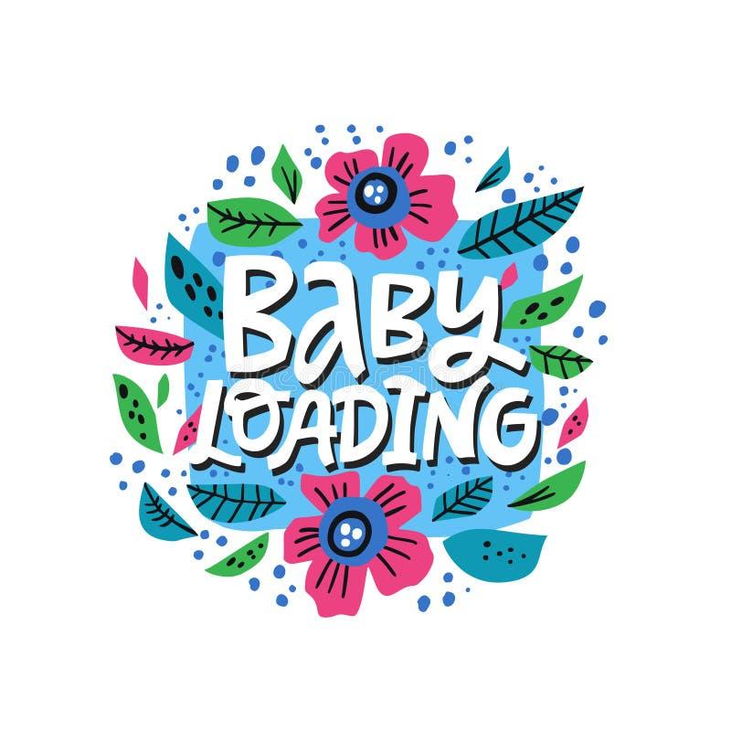 在花卉框架的婴孩装载的传染媒介字法 库存例证