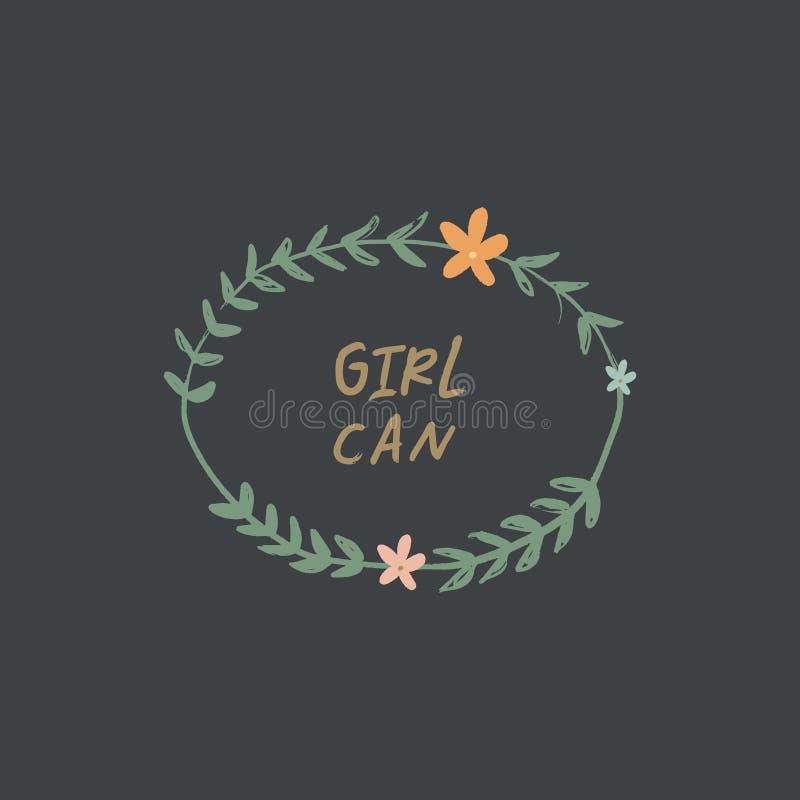 在花卉框架的激动人心的手拉的女孩力量行情 书信设计,花集合 女权主义题材 向量例证