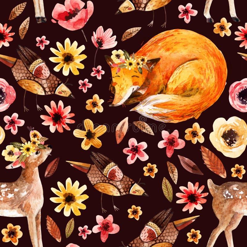 在花卉背景的逗人喜爱的水彩动物 向量例证