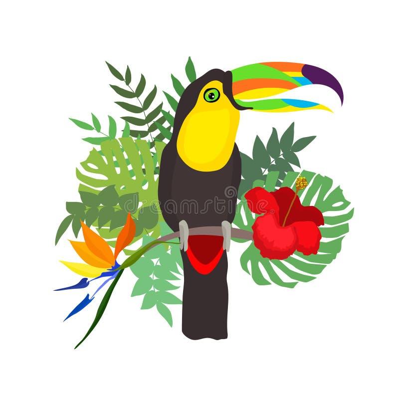 在花卉背景的Toucan 库存例证