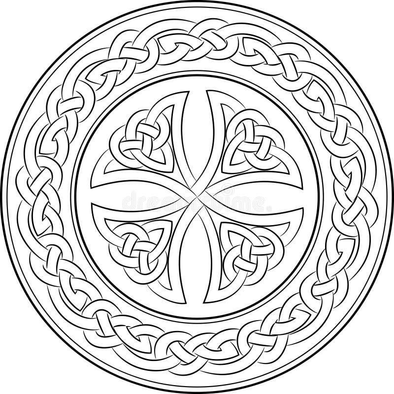 在花圈的凯尔特结十字架 向量例证