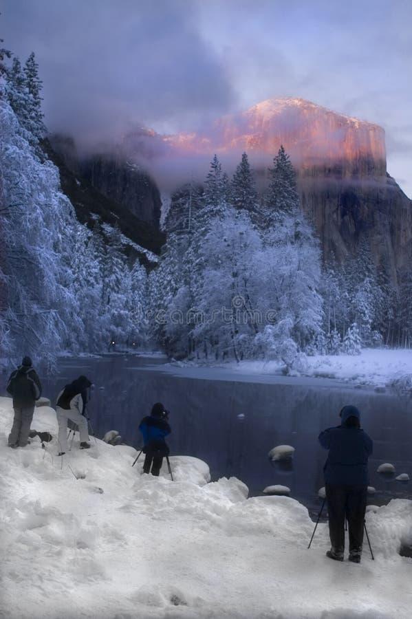在花岗岩峰顶的Alpenglow 库存照片