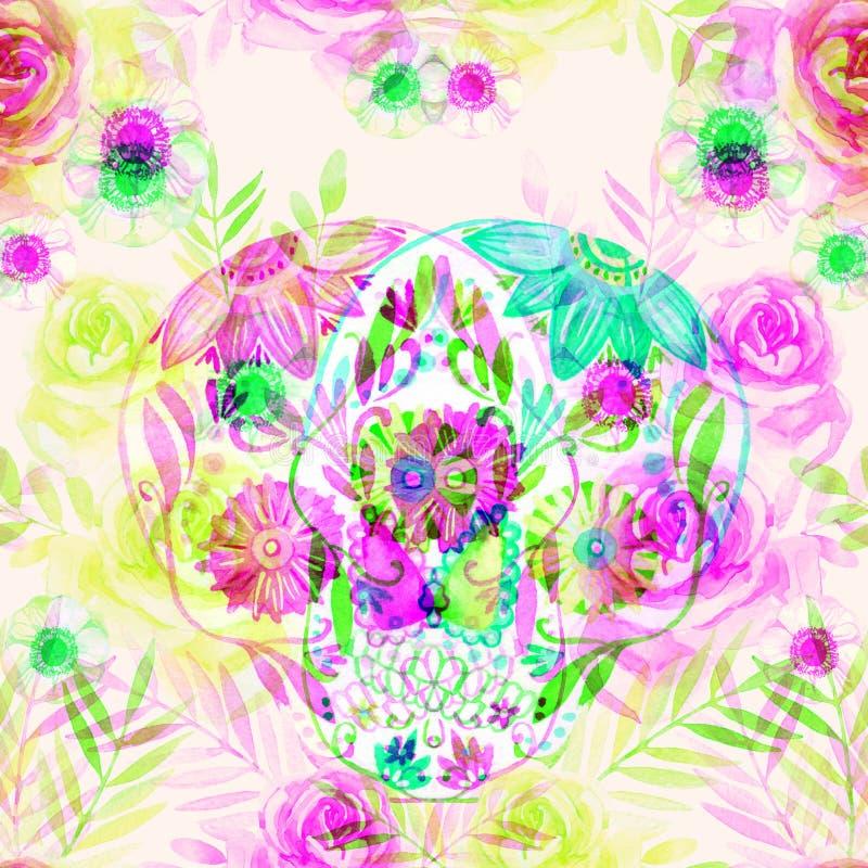 在花无缝的样式中的水彩墨西哥糖头骨 库存例证