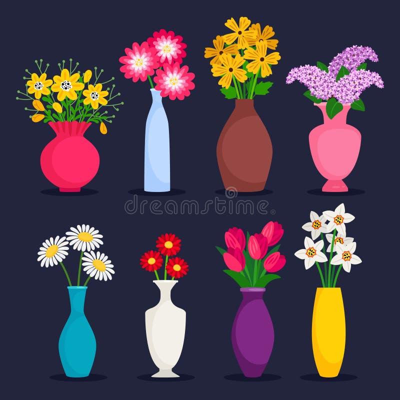 在花瓶传染媒介汇集的春天和夏天花束 库存例证