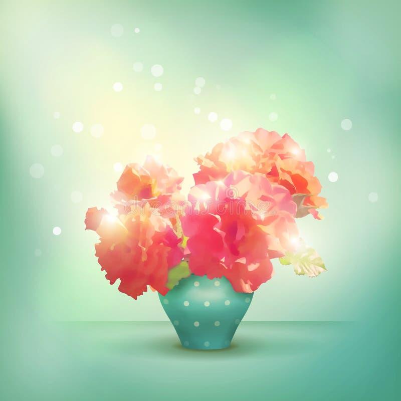 在花瓶的光亮的花玫瑰 向量例证