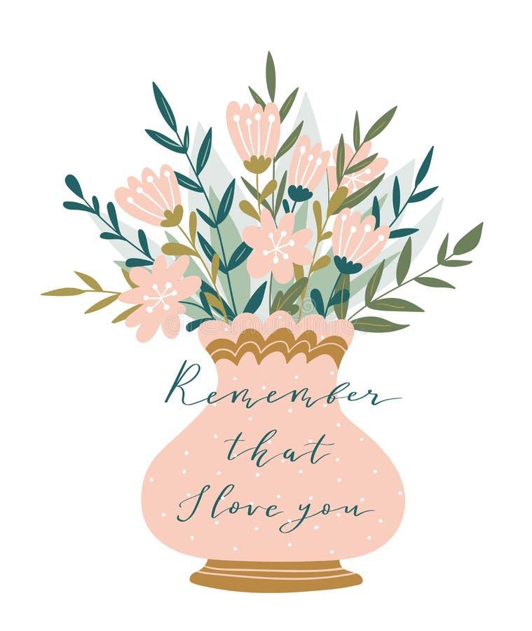 在花瓶的浪漫桃红色牡丹花束有书法的- `记住那我爱你` 情人节传染媒介例证 库存例证
