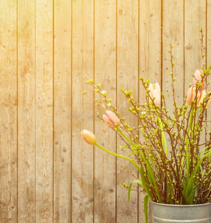 在花瓶的美丽的春天郁金香反对木背景 免版税库存照片