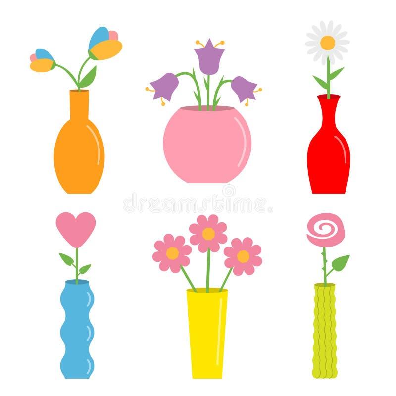 在花瓶的花 逗人喜爱的五颜六色的象集合 陶瓷瓦器玻璃装饰模板 o ?? r 库存例证