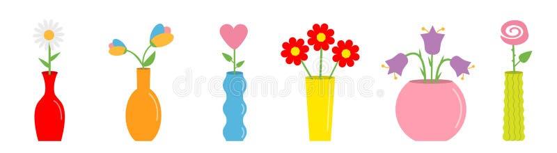 在花瓶集合的花 逗人喜爱的五颜六色的象收藏 陶瓷瓦器玻璃装饰模板 o ?? ?? 库存例证