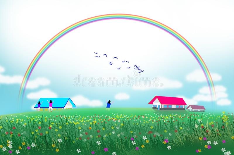 在花田的美丽的彩虹 皇族释放例证