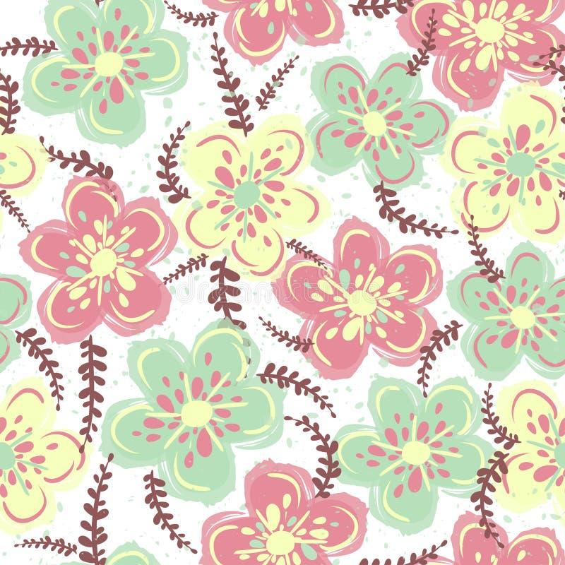 在花的逗人喜爱的花卉样式 r 时尚印刷品的典雅的模板 图库摄影