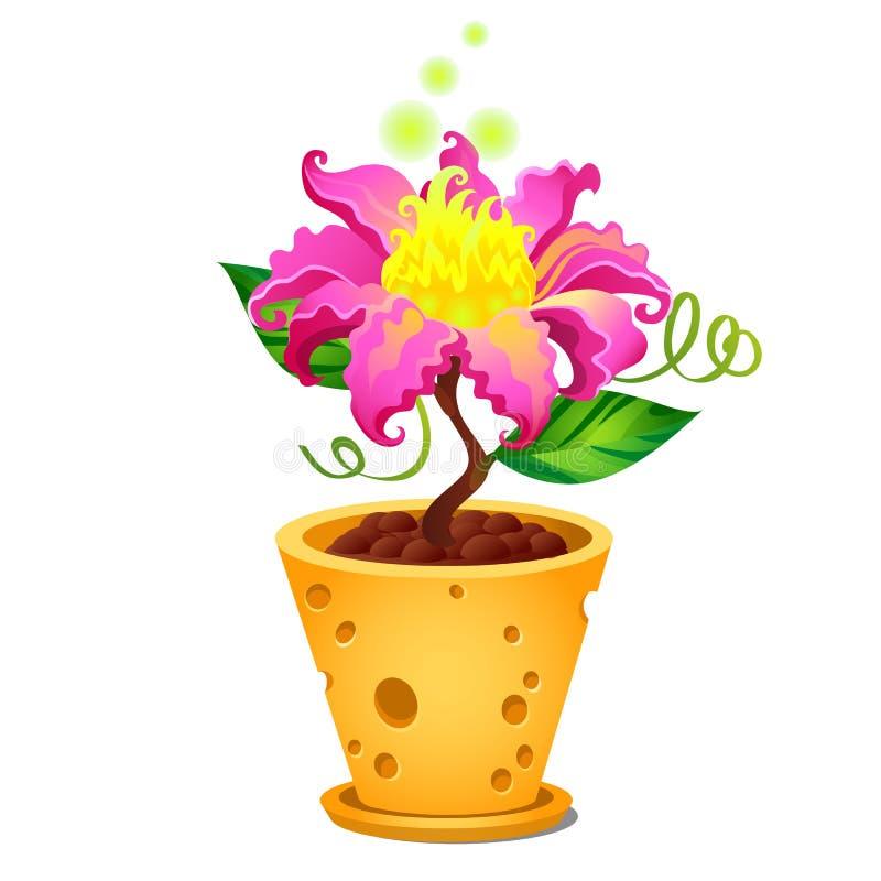 在花盆的幻想明亮的燃烧的花与在白色背景隔绝的乳酪纹理 r 向量例证