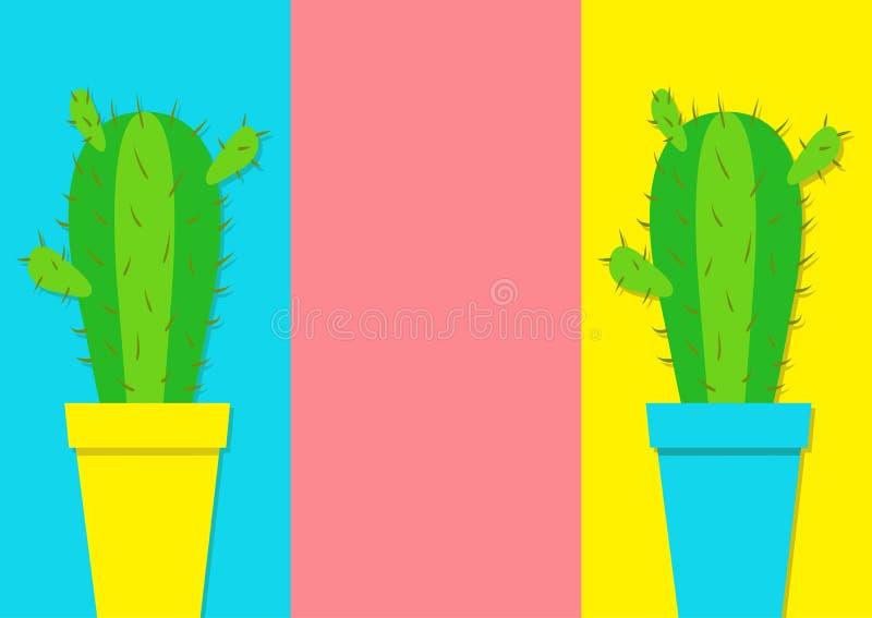 在花盆象集合的仙人掌象 最小的平的设计 鲜绿色的室内植物 沙漠prikly棘手的多刺的植物 生长concep 库存例证