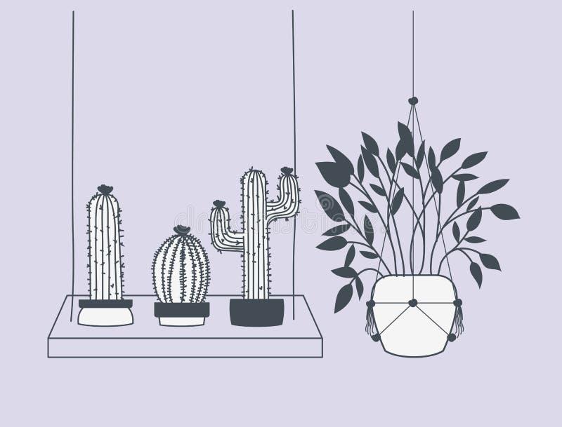 在花边挂衣架和摇摆的室内植物 向量例证