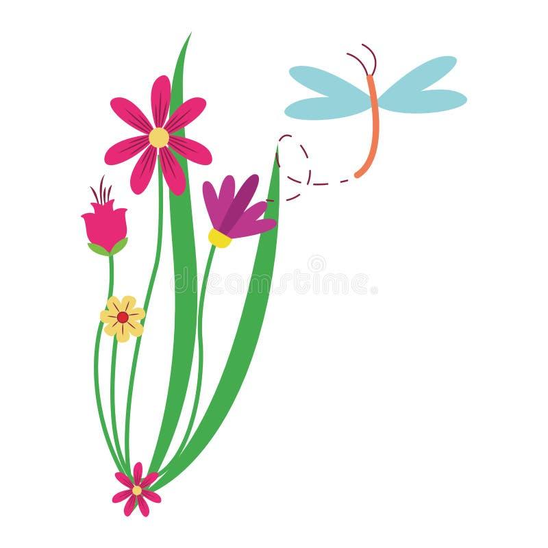 在花附近的蜻蜓飞行 向量例证