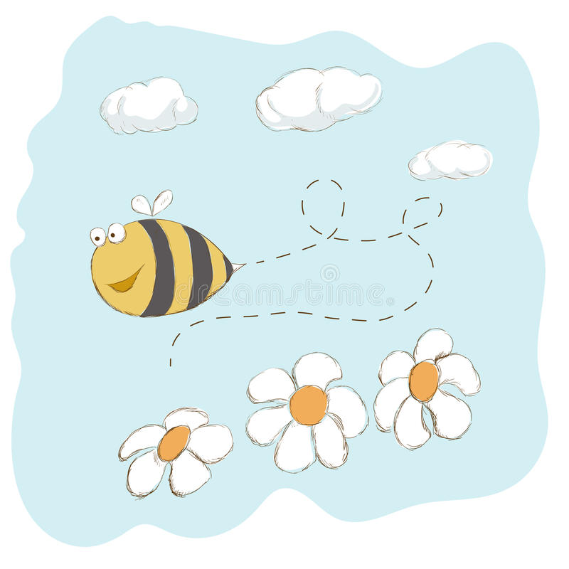 在花附近的逗人喜爱的蜂飞行 向量例证