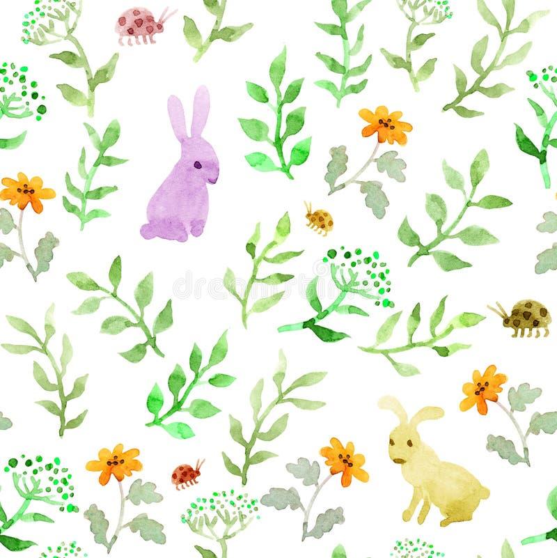 在花,狂放的草本的兔子动物 重复水彩逗人喜爱的ditsy样式 皇族释放例证
