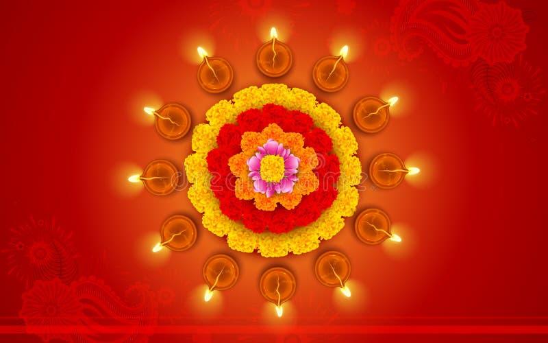 在花Rangoli的装饰的Diwali迪雅 向量例证