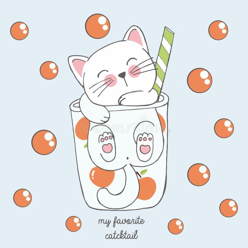 在芳香树脂样式的逗人喜爱的kawaii猫在一杯与红色泡影的桃子鸡尾酒,画为子选单,鸡尾酒会 库存例证