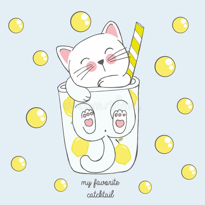在芳香树脂样式的逗人喜爱的kawaii猫在一杯与黄色泡影的柠檬鸡尾酒,画为子选单,鸡尾酒会 向量例证