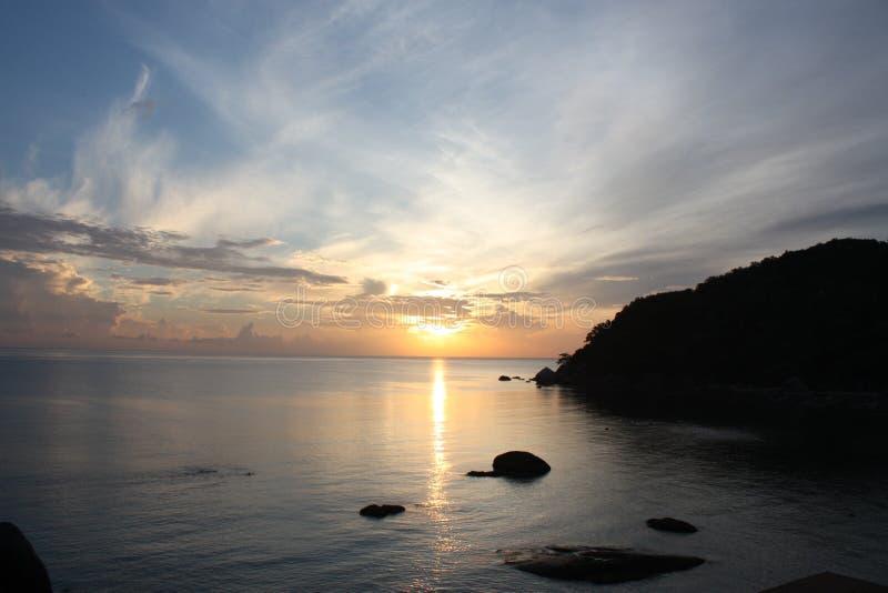 在苏梅岛海岛上的日出 库存照片