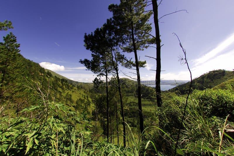 在苏门答腊户田附近的湖横向 图库摄影