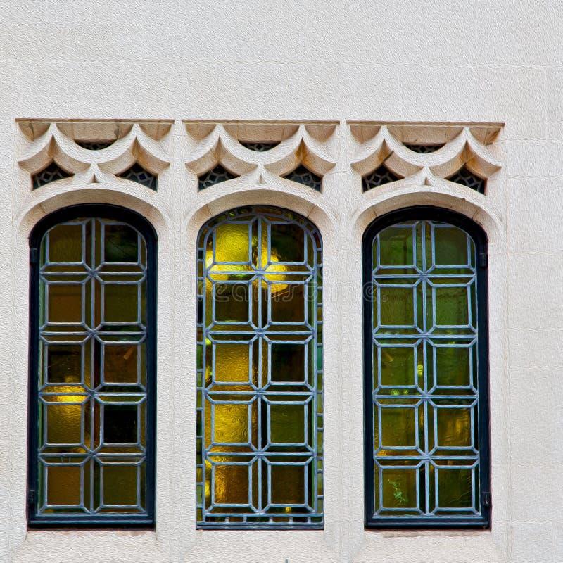 在英国伦敦砖和玻璃的老windon墙壁 库存图片