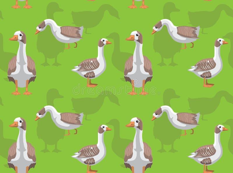 在英国动画片背景无缝的墙纸西部的家养的鹅 向量例证