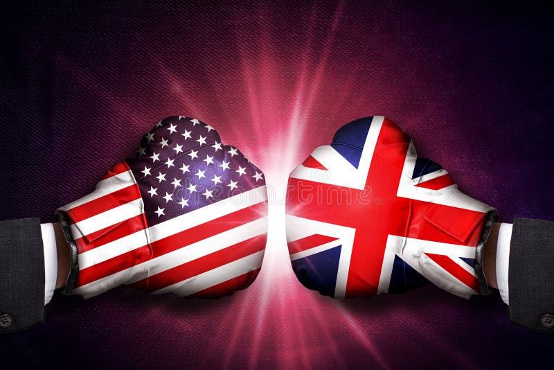 在英国和美国之间的外交和商业概念 免版税库存图片