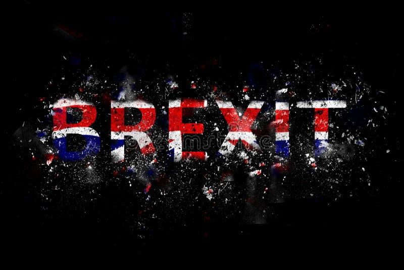在英国国旗颜色的爆炸的Brexit文本 免版税库存照片