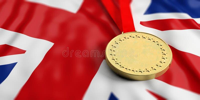在英国旗子的金牌 水平,充分的框架特写镜头视图 3d例证 向量例证