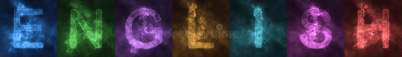 在英国空间风格化五颜六色的信件上写字的词 英语 皇族释放例证