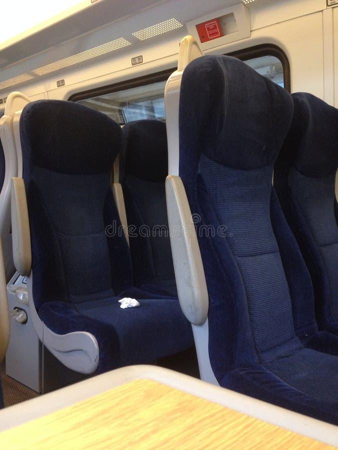 在英国铁路火车的椅子 图库摄影