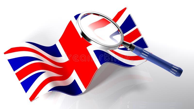 在英国- 3D的旗子的放大器翻译 库存例证